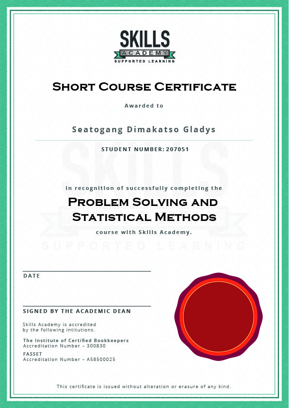 Short Course Problem Solving And Statistical Methods