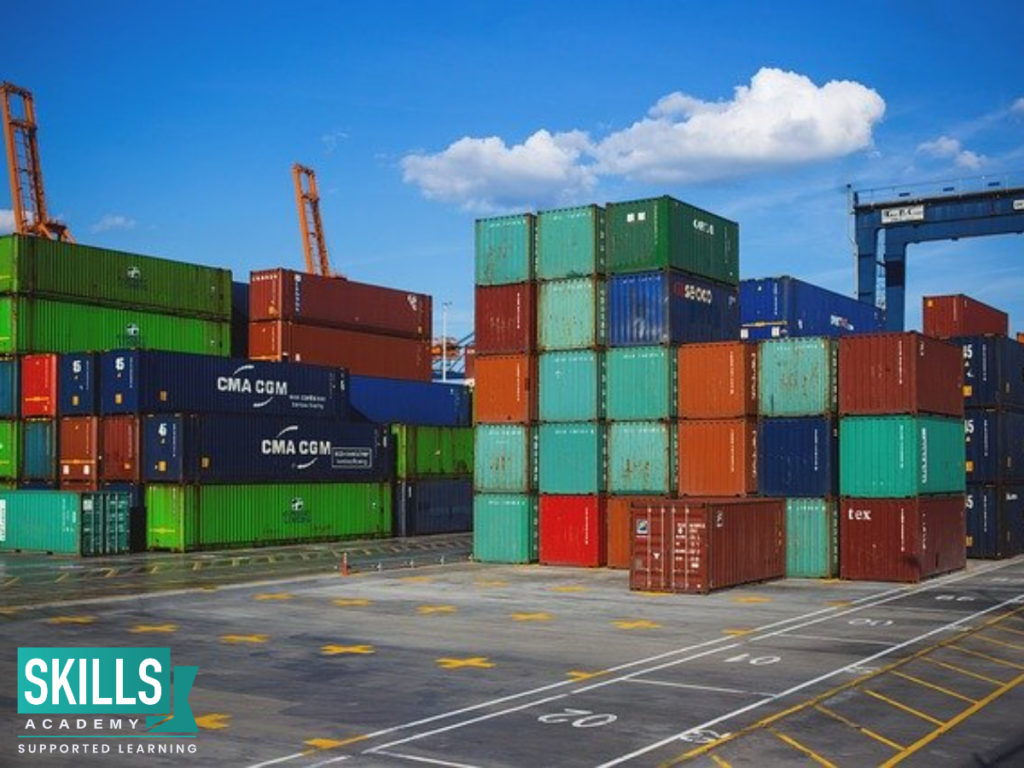 Shipping containers. Be part of every step of the production line with Production and Operations Management Courses.