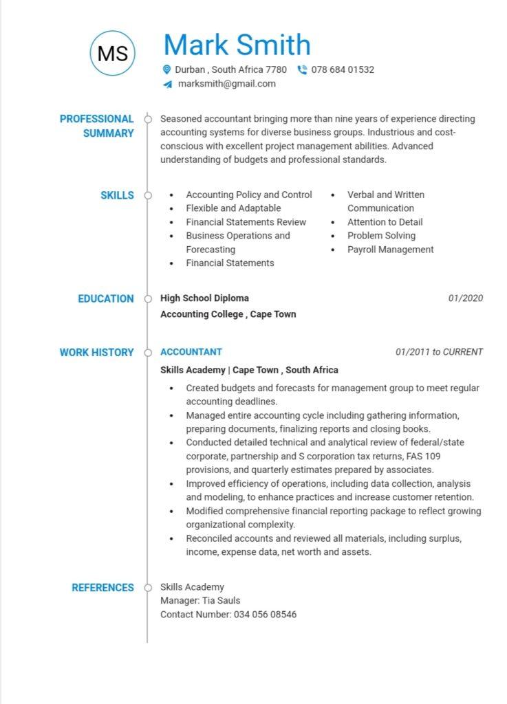 An example of a Accountant CV